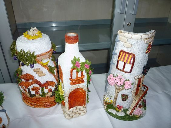 frascos de vidrio decoradas con porcelana fria - Buscar con Google
