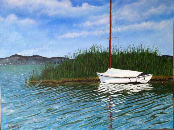 Pleasure boat on Balaton, Oil on canvas board