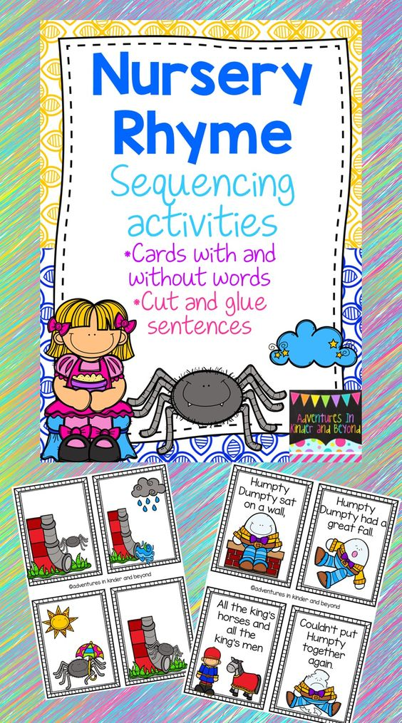 These bright and colorful cards are great for learners beginning to sequence ideas or events, and a link to retells. This set uses 10 nursery rhymes. Each rhyme has 2 sets of cards. One with words and pictures OR a set with just pictures.  Also included are printables for each rhyme: * sequencing pictures- students put the pictures in order * sentence building- students unscramble 1 line for a rhyme and  illustrate a picture