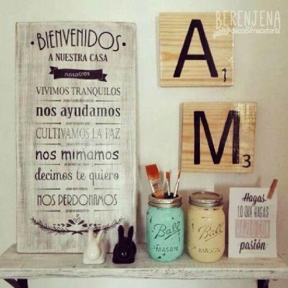 Letrero vintage de madera bienvenidos a nuestra casa y letras de madera tipo scrabble - Letras scrabble madera ...