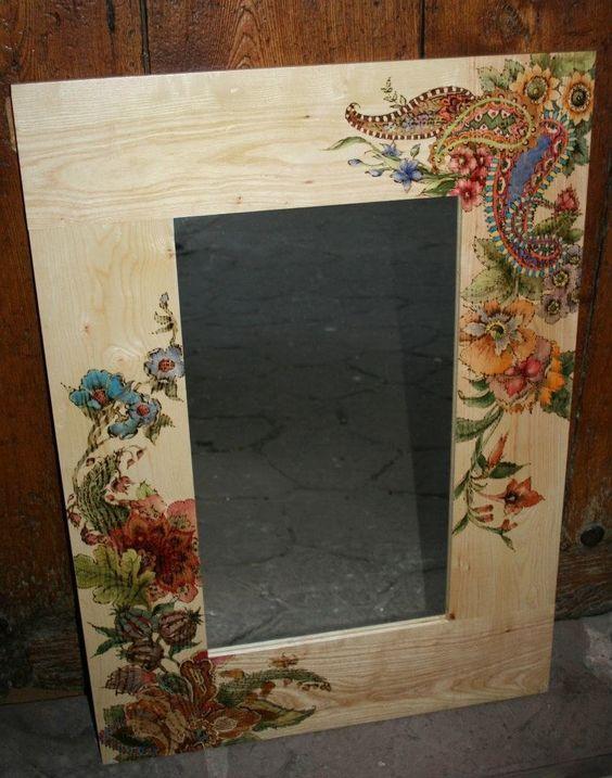Marco de espejo pirograbado y pintado a mano con acuarela - Espejos decorados a mano ...