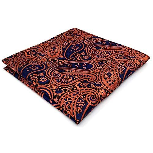 SHLAX/&WING Pocket Square Paisley Hanky Red Wedding Silk Red Fashion Large