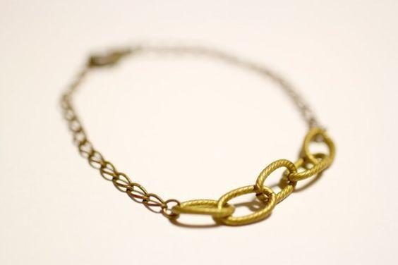 情人節禮物 ♥ { moimoi }幾何簡約鎖鏈造型黃銅手鍊 - moimoi | Pinkoi