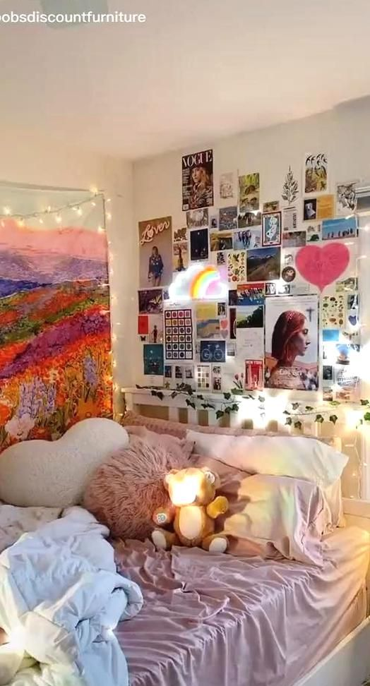 Credit To Bobsdiscountfurniture On Tiktok Inspo Room Room Wall Painting Ideas Aesthetic In 2020 Indie Room Redecorate Bedroom Room Inspo