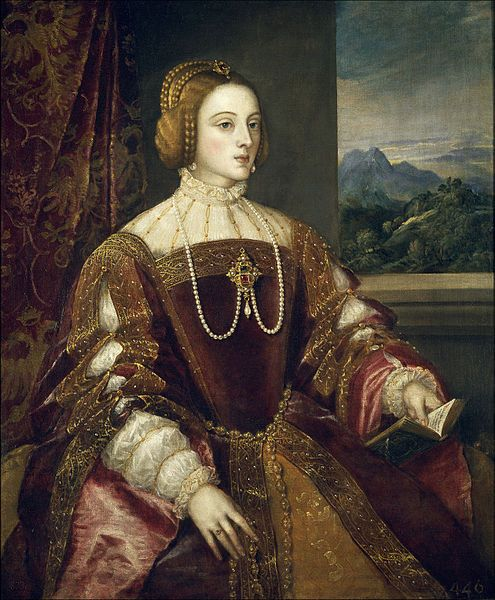 Isabella of Portugal by Titian. Granddaughter of Isabella of Castile and Ferdinand of Aragon; niece of Catherine of Aragon. Married her first cousin, Charles V