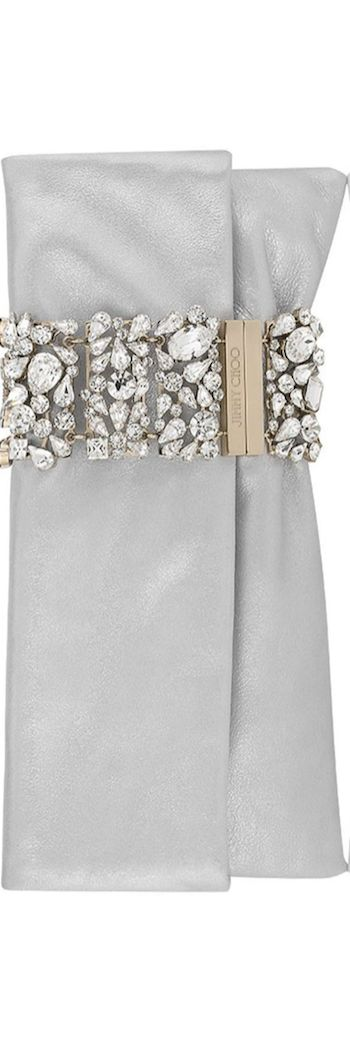 Jimmy Choo Chandra Diamond Metallic Leather with Hollywood Crystal Bracelet Clutch Bag LOOKandLOVEwithLOLO