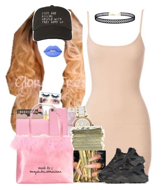 """"""""""" by saucinonyou999 ❤ liked on Polyvore featuring LULUS, Lime Crime, MICHAEL Michael Kors, SEN and NIKE"""