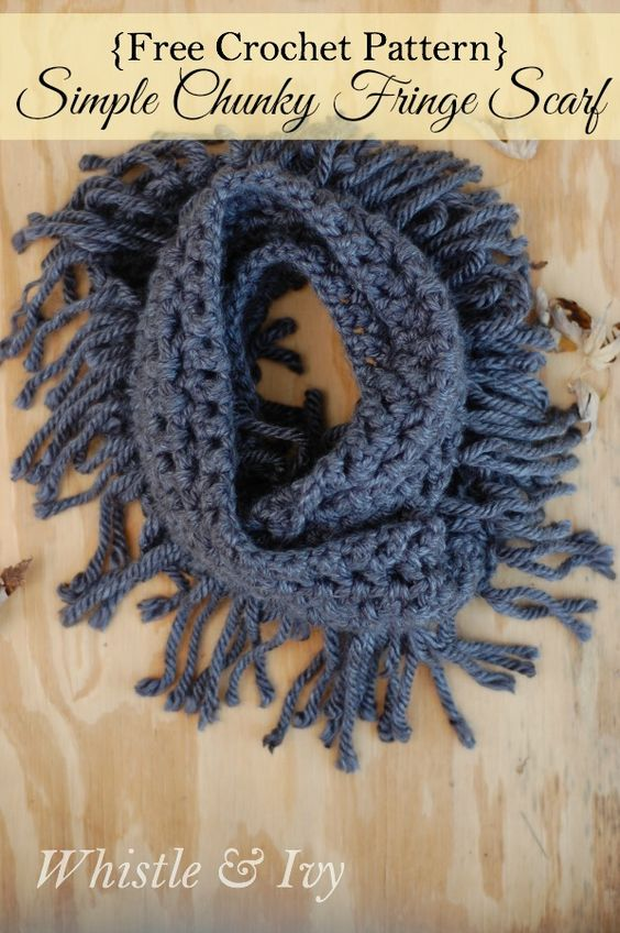 Free Crochet Pattern: Chunky Fringe Infinity Scarf | Make the pretty and cozy infinite scarf with the adorable added yarn fringe!: