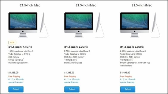 Apple Unveils Cheaper 21.5-Inch iMac. The new iMac is the smallest of the bunch, and the cheapest, starting at 1,099 dollars.
