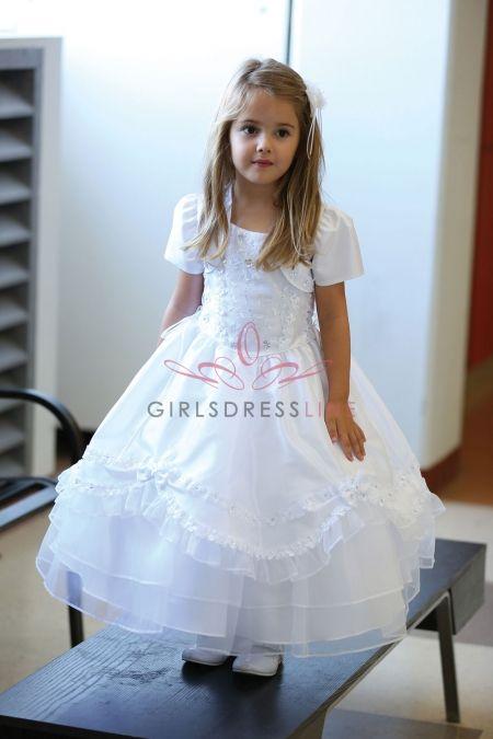 White Taffeta Organza Overlay Dress MDR336-WH AG-DR336 on www.GirlsDressLine.Com