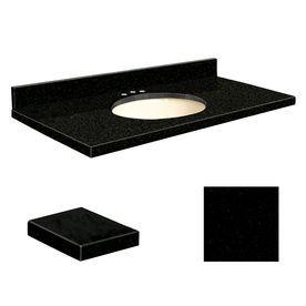 Transolid Absolute Black Granite Undermount Single Sink Bathroom Vanit