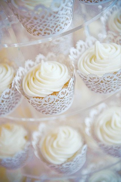 Filigree cupcake wrappers for wedding cupcakes.: