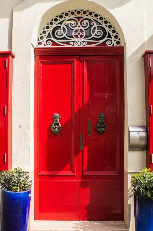 Love Those Cobalt Blue Planters With That Gorgeous Red Door Malta