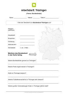 Bundesland Thüringen Arbeitsblatt