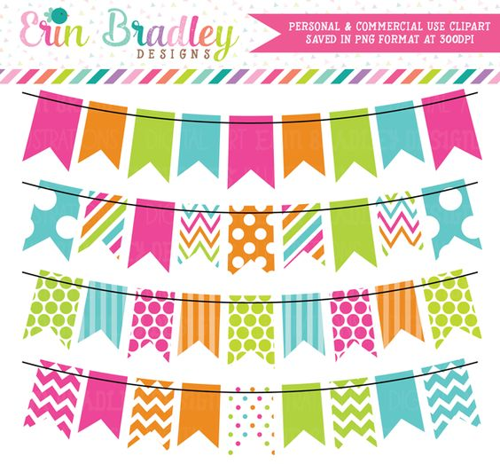 Colorful Rainbow Bunting Clipart Set