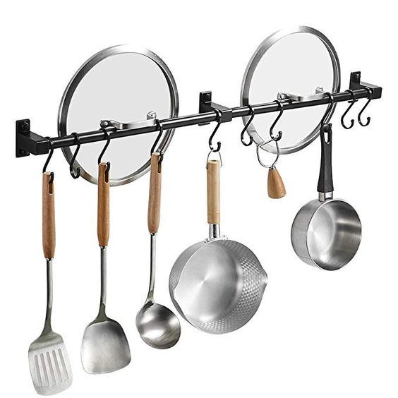 Besy 31 5 Inch Black Hanging Pot Rack Wall Mounted Lid Holder Detachable Rail Kitchen Utensils Pan Hanger With 10 Detach Pot Rack Hanging Pot Rack Hanging Pots