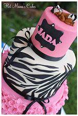 Hot Mamas Cakes   Baby Shower Hot pink and zebra print baby shower with sleeping zebra baby