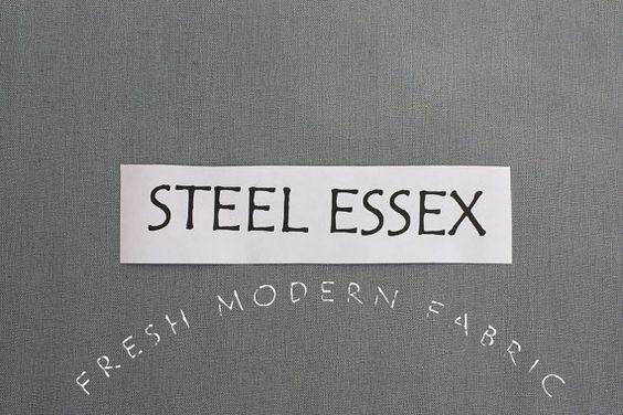 One Yard Steel Essex, Linen and Cotton Blend Fabric from Robert Kaufman