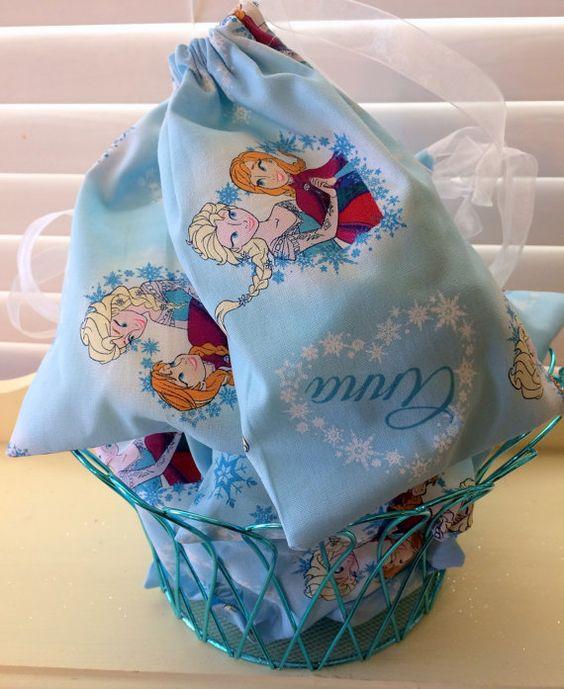 Frozen Party Favor Bag Handmade Frozen Fabric Favors Set Of 10 Frozen Birthda
