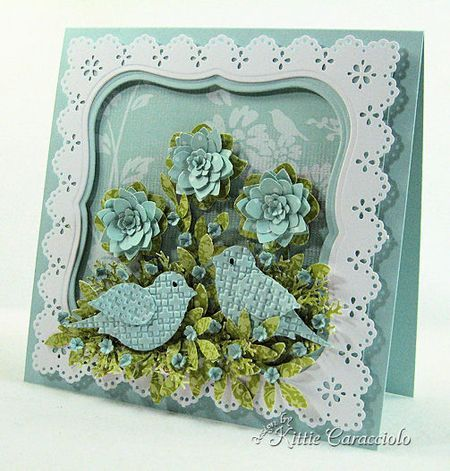 frame card with two two step birds...delightful dimensional flowers...frame is on dimensional tape....luv it!! ... perfect for a real fram rather than just a card...