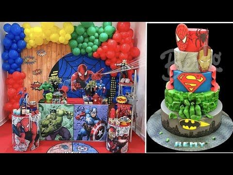 تنسيقات لحفلات لابطال الخارقين باتمان وسوبرمان وسبايدرمان Superman Batman Cake Youtube Birthday Cake Birthday Cake