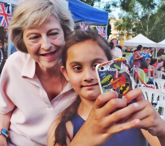 A young fan gets a selfie with the PM Theresa May - Maidenhead Festival 2016