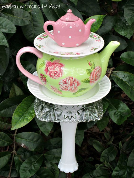 Garden Totem Stake Pink Roses Teapot   As by GardenWhimsiesByMary