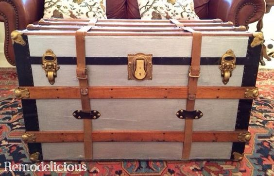 Silver and gold mixed metal steamer trunk makeover using rub n buff & silver paint to create a practical storage coffee table.