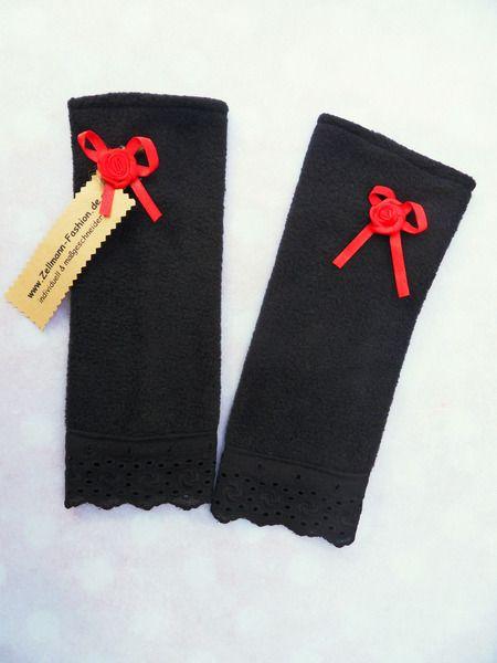 Stulpen+Armstulpen+Ghotic+Spitze+schwarz+rot+von+Zellmann+Fashion+auf+DaWanda.com