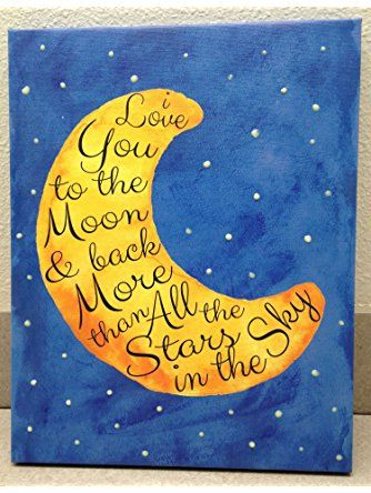 Adorable 'I Love you to the Moon and Back' with Glow in the Dark Stars; Children's Room Decor; One 11x14 Hand-Stretched Canvas ❤ Gango Home Decor