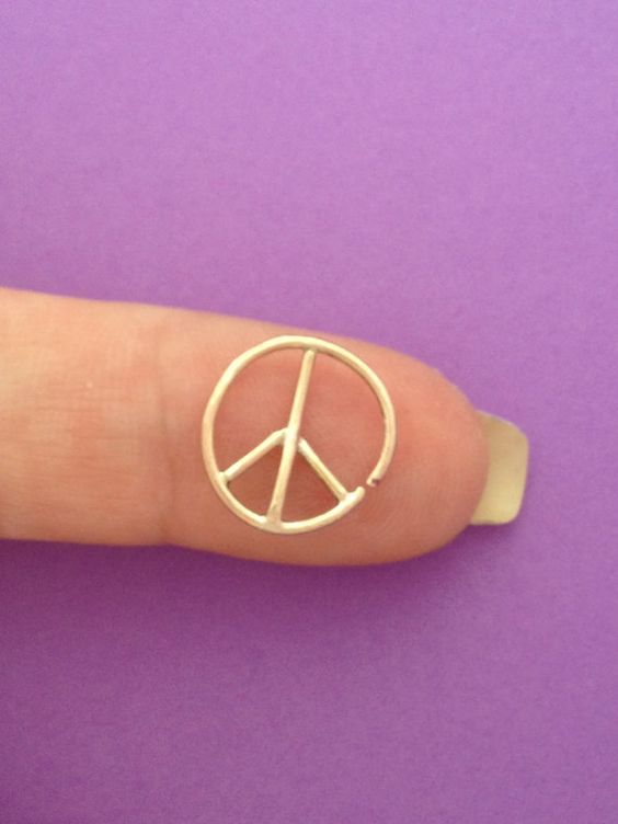 Tragus, Piercing, Facial Piercing, Continuous Hoop Ring/ Gold Filled/ 12mm/ 18g Peace Sign Custom made on Etsy, $22.00