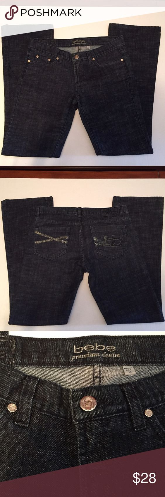 """Jeans by bebe Size 29 Bebe Premium Denim Jeans Black with  9"""" Flare Original Color Rhinestones on Left Back Pocket & Original & Black Rhinestones on Right Back Pocket Size 29W 31L 98% Cotton 2% Spandex Very Good Condition! bebe Jeans"""