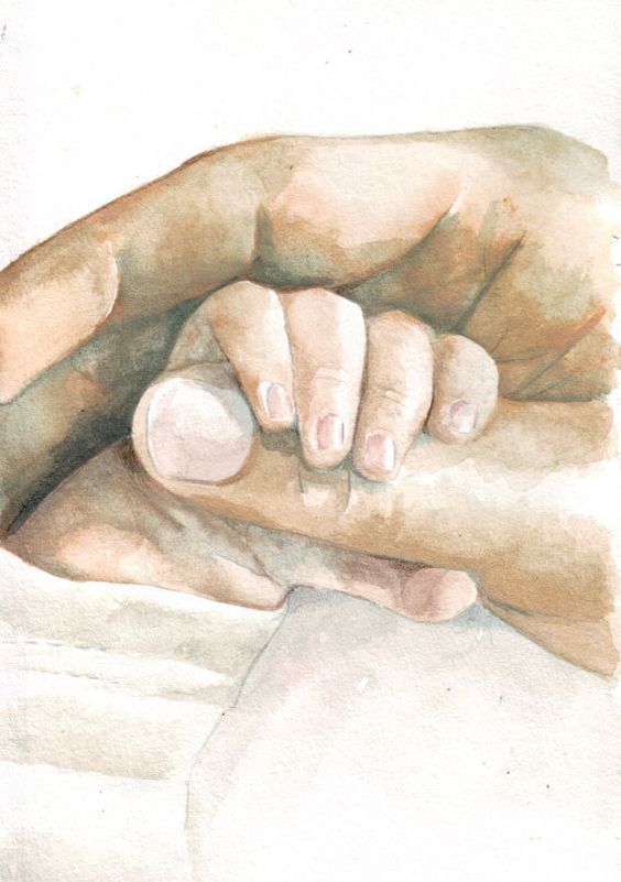 Original watercolor painting baby hand holding father 39 s for Watercolor paintings of hands