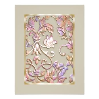 Save The Date Embossed Pastel Damask