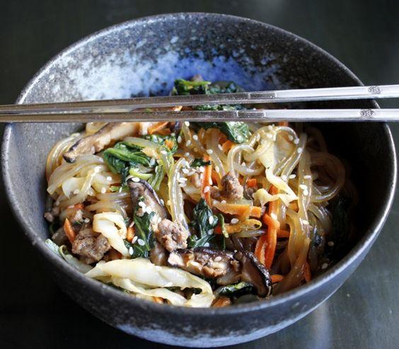 "JAPCHAE  Korean Sweet Potato ""Glass"" Noodles  Spinach, Beef, Shiitake, Carrot, Cabbage, Onion  Sweet Garlicky Sesame Soy Sauce {recipe}"