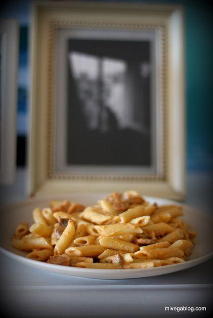 Macarrones cremosos con berenjena y champiñones | mivegablog