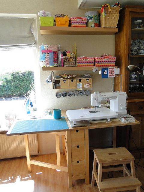 my sewing space in the livingroom room inspiration sewing spaces and room