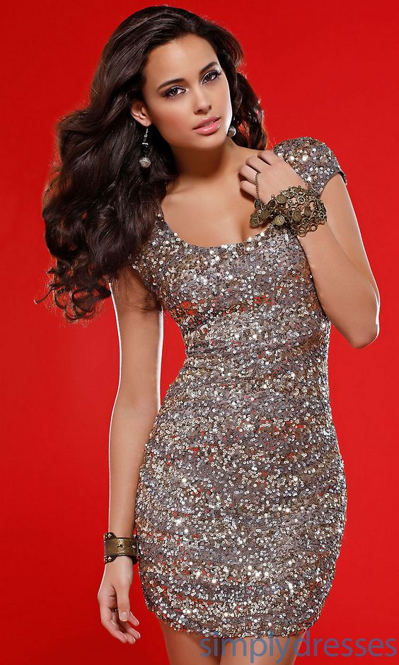 Sequin Homecoming Dress with Cap Sleeves - Clothes for Gals ...
