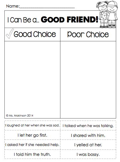 Printables Making Good Decisions Worksheets friendship friend activities and circles on pinterest i can be a good making choices cut paste activity