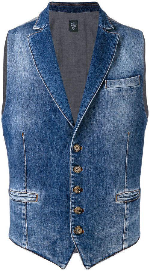 Lady Denim Vests Slim Sleeveless Jackets Vintage Long Jeans Waistcoats Tops Blue