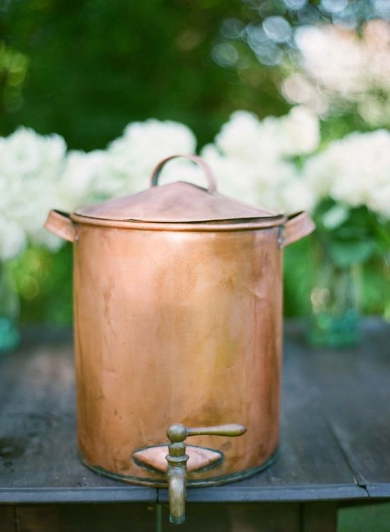 Copper drink container. I am enamored with this one.