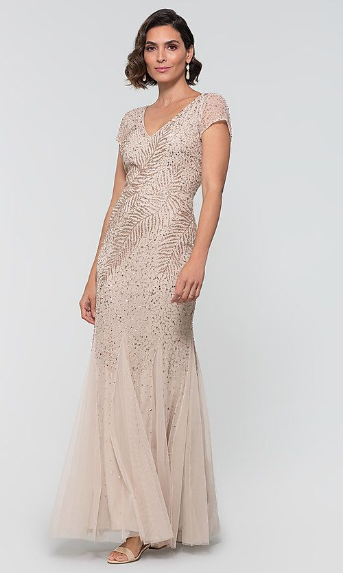 Image Of Cap Sleeve Adrianna Papell Long Beaded Mob Dress Style Ap Ap1e204478 B Front Image Mob Dresses Mother Of The Bride Dresses Mother Wedding Dress