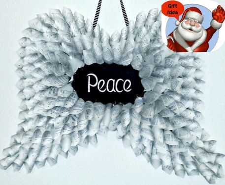 Peace - Handmade Upcycled Paper Angel Wings - Christmas Decorations, Wall Hanging, Holiday Decor #unique #forsale #etsy #oneofakind #holidaysyouandme #giftidea $70.59