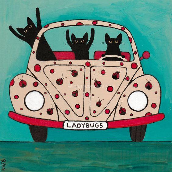 La route de coccinelles voyage chat lunatique par KilkennycatArt