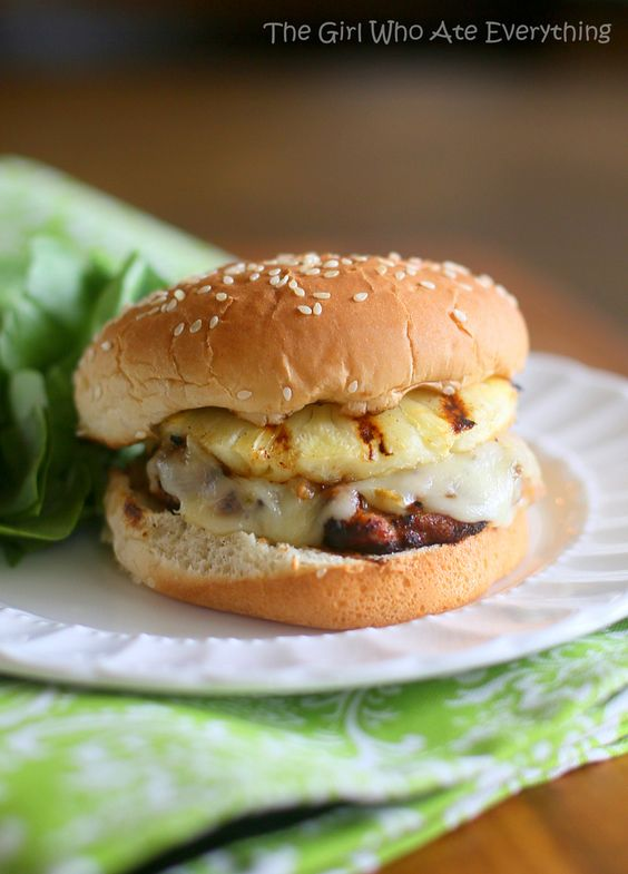 Burgers 6 pineapple rings sliced 1/2 inch thick 6 slices pepper jack ...