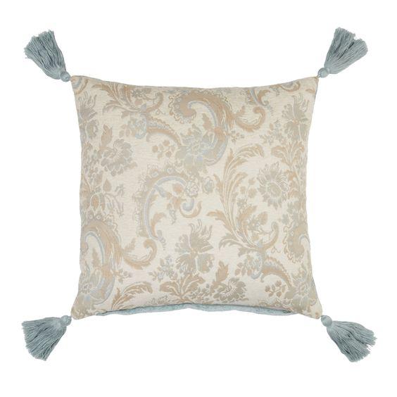 Baroque Blue Floral Cotton Cushion