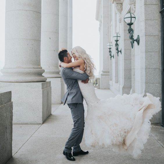 Chelsea + Blake's Romantic Courthouse Wedding | Allure Bridals: