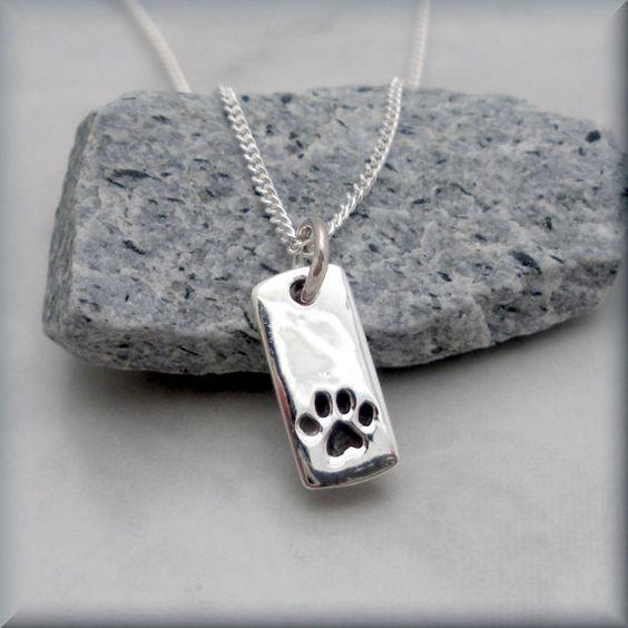 Dog+Paw+Necklace+Pet+Jewelry+Sterling+Silver+by+BonnyJewelry,+$24.00