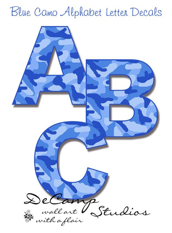 Blue Camo Alphabet letters wall art decals for boys room baby camouflage nursery or  sc 1 st  Pinterest & Blue Camo Alphabet letters wall art decals for boys room baby ...