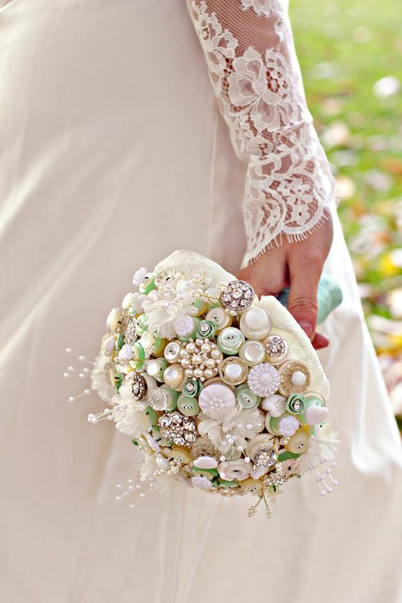 Downton Button Bouquet in ivory, cream and mint green with pearl and fabric flower highlights: